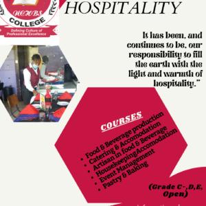 hospitality SEPTEMBER 2021 INTAKE